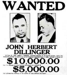 """John Dillinger en su cartel de """"Se busca"""""""