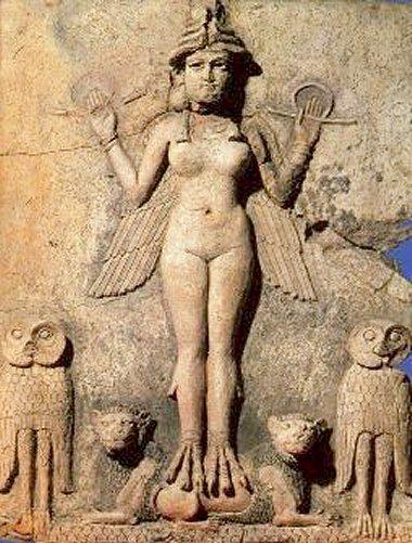Representación en piedra de la Diosa Inanna