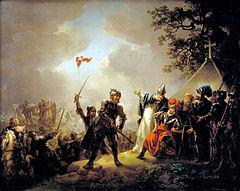 Batalla de Lyndanisse, donde según la leyenda se originó la bandera danesa (pintura de Christian August Lorentzen)