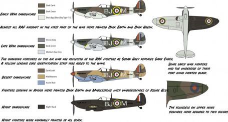 Varios colores de camuflaje del Spitfire, incluido el negro