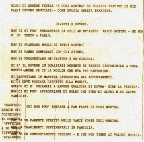 Los 10 mandamientos de la mafia